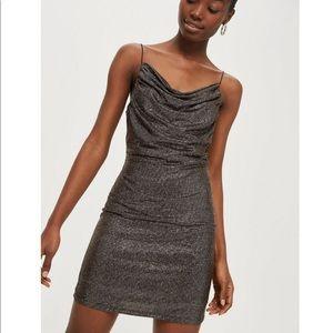 TopShop Cowl Neck Metallic Slip Dress
